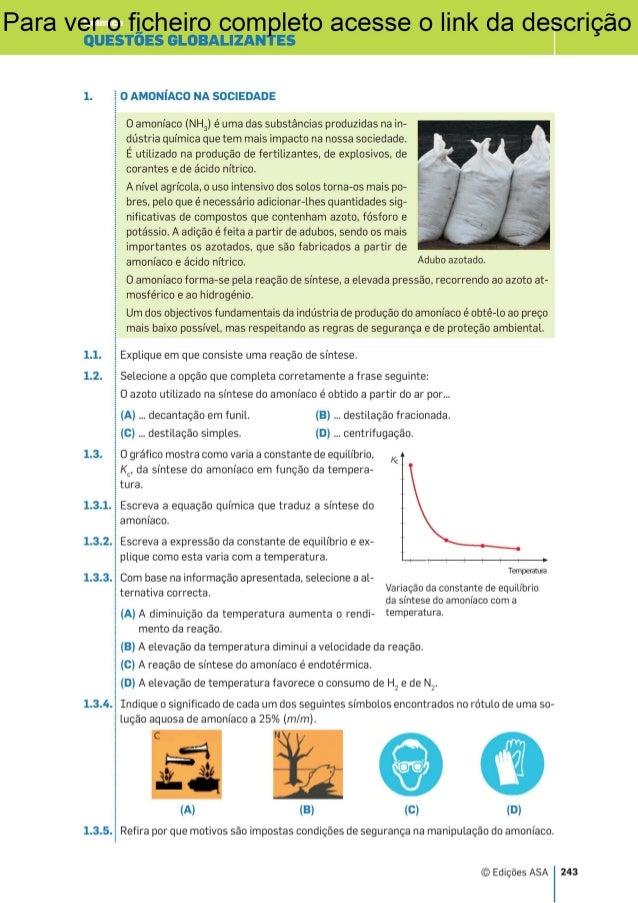 Exercícios Globais de Química para o Exame 11º ano - Física-Química