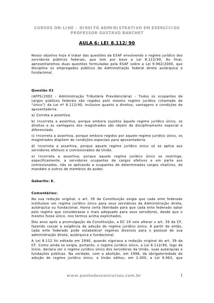 CURSOS ON-LINE – DIREITO ADMINISTRATIVO EM EXERCÍCIOS              PROFESSOR GUSTAVO BARCHET                           AUL...