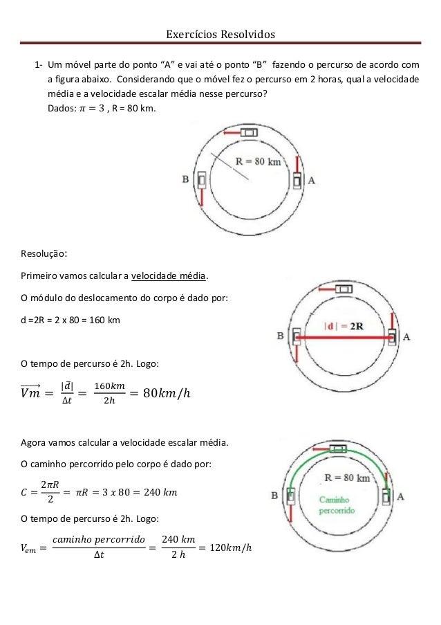 """Exercícios Resolvidos 1- Um móvel parte do ponto """"A"""" e vai até o ponto """"B"""" fazendo o percurso de acordo com a figura abaix..."""