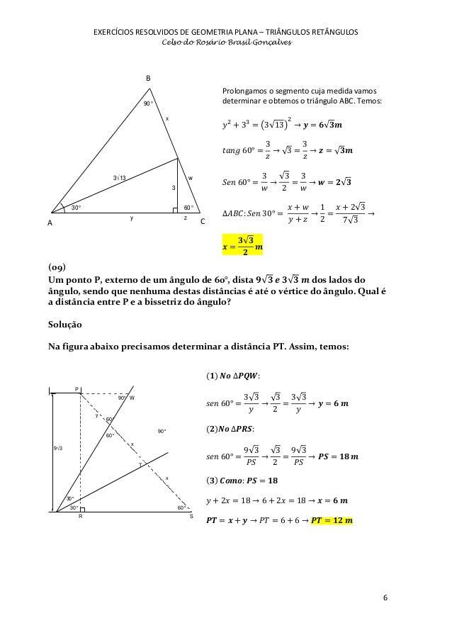 exerc cios resolvidos de geometria plana tri ngulos
