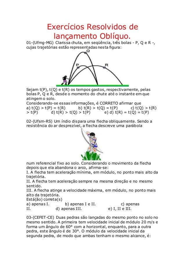 Exercícios Resolvidos de lançamento Oblíquo. 01-(Ufmg-MG) Clarissa chuta, em seqüência, três bolas - P, Q e R -, cujas tra...