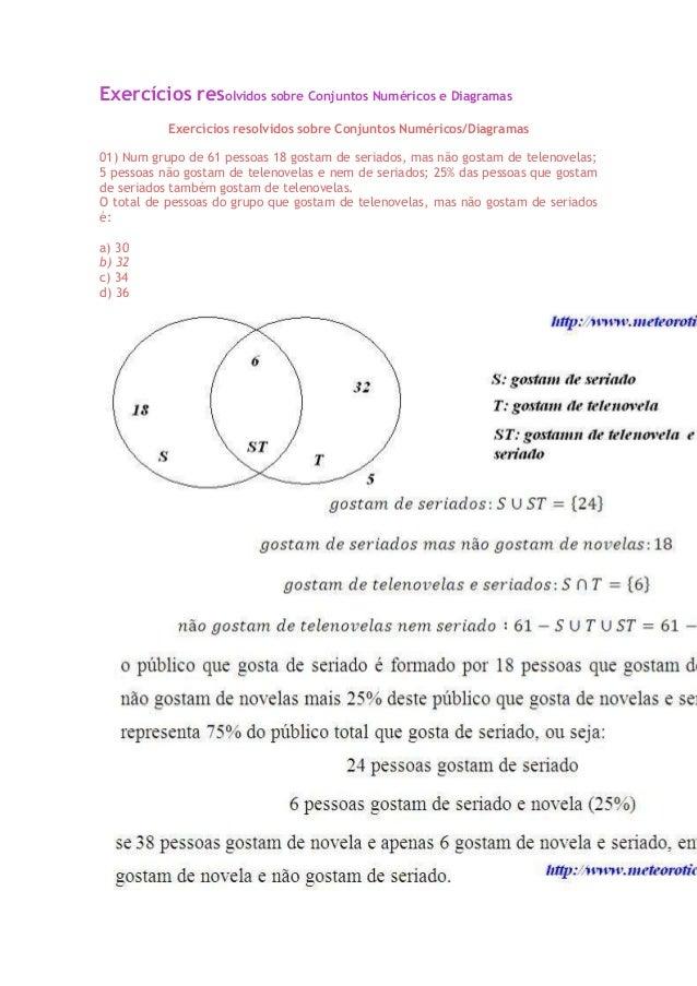Exercícios resolvidos sobre Conjuntos Numéricos e Diagramas           Exercícios resolvidos sobre Conjuntos Numéricos/Diag...