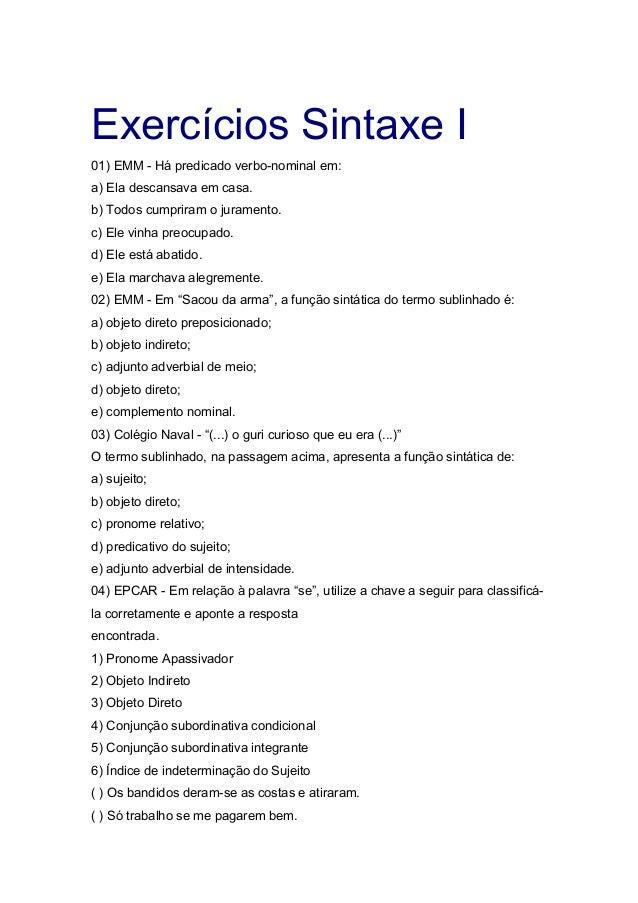 Sintaxe – Exercícios com Gabarito – Dicas de ...
