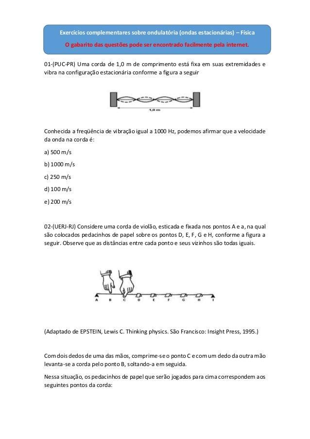 01-(PUC-PR) Uma corda de 1,0 m de comprimento está fixa em suas extremidades e vibra na configuração estacionária conforme...