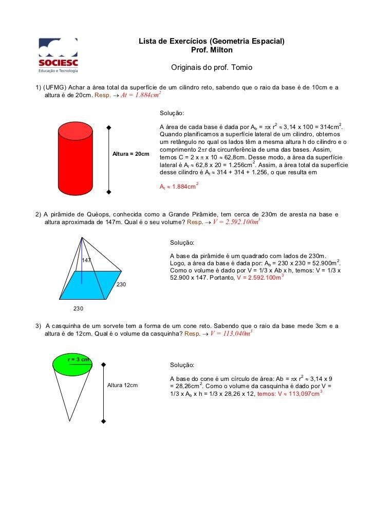 Lista de Exercícios (Geometria Espacial)                                                    Prof. Milton                  ...
