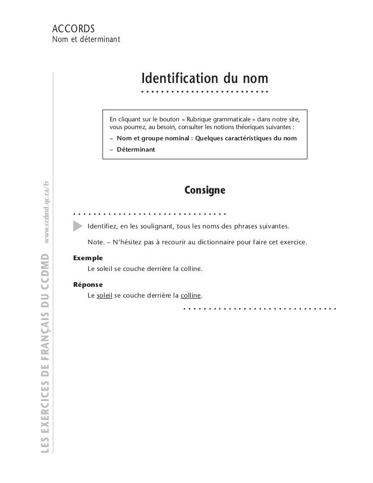 IDENTIFICATION                                     ACCORDS                                     DU NOM                     ...
