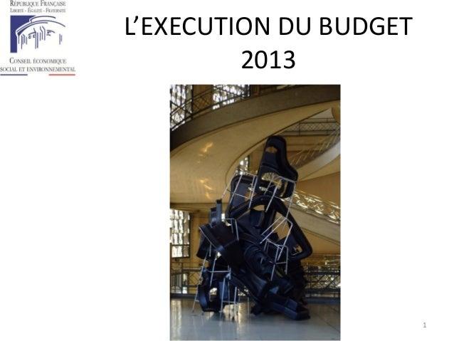 L'EXECUTION DU BUDGET 2013 1