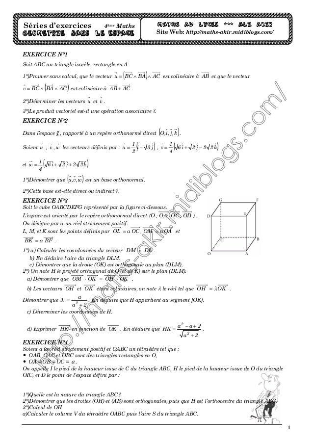 1 EXERCICE N°1 Soit ABC un triangle isocèle, rectangle en A. 1°)Prouver sans calcul, que le vecteur ( ) ACBABCu ∧∧= est co...