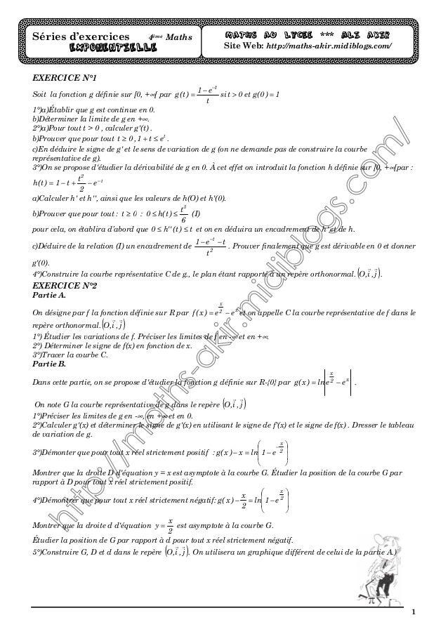 1 EXERCICE N°1 Soit la fonction g définie sur [0, +∞[ par 1)0(get0tsi t e1 )t(g t => − = − 1°)a)Établir que g est continue...
