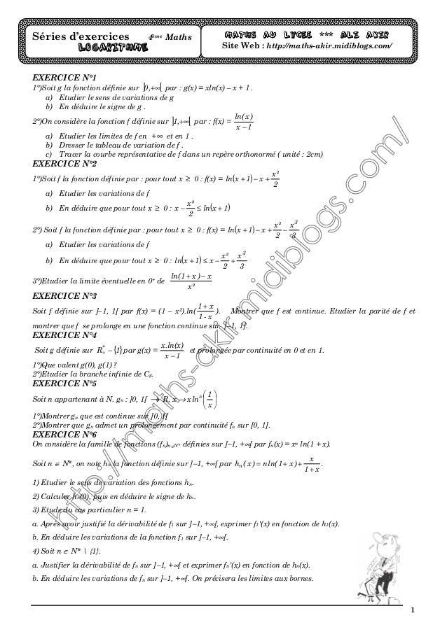 1 EXERCICE N°1 1°)Soit g la fonction définie sur ] [+∞,0 par : g(x) = xln(x) – x + 1 . a) Etudier le sens de variations de...