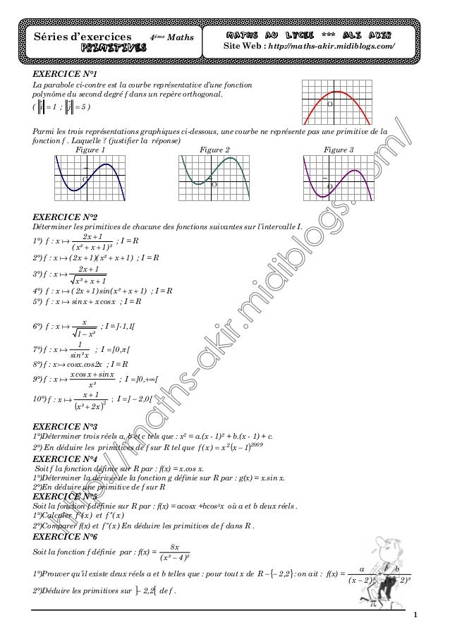 1 EXERCICE N°1 La parabole ci-contre est la courbe représentative d'une fonction polynôme du second degré f dans un repère...