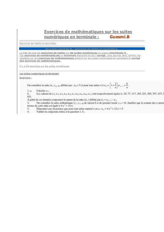 le Baccalauréat S.les suitesExercices de mathématiques sur les suitesnumériques en terminale : Guesmi.BExercices de maths ...