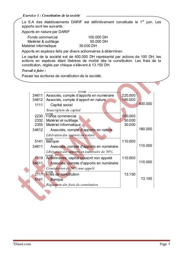 34611 34612 1111 Associés, compte d'apports en numéraire Associés, compte d'apport en nature Capital social Souscription d...