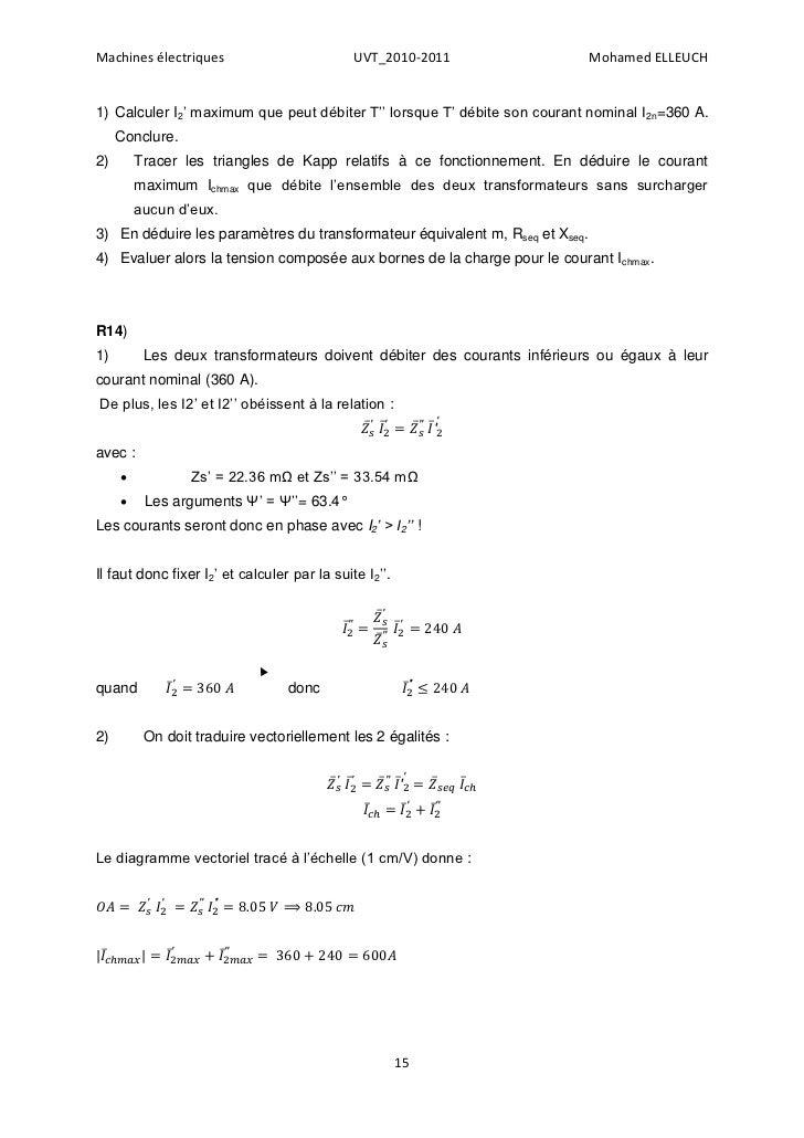 Machines électriques                          UVT_2010-2011                  Mohamed ELLEUCH1) Calculer I2' maximum que pe...
