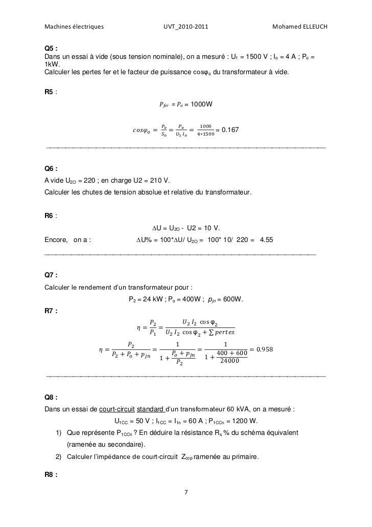 Machines électriques                   UVT_2010-2011                       Mohamed ELLEUCHQ5 :Dans un essai à vide (sous t...