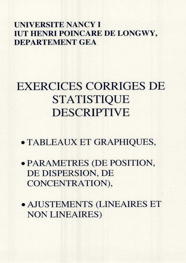 Exercices de stat. descriptive