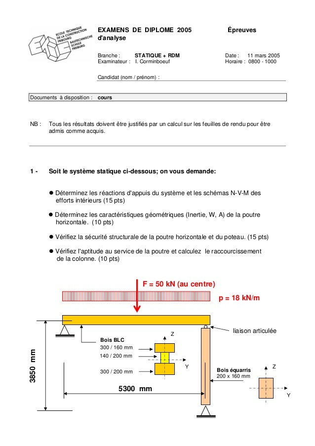 EXAMENS DE DIPLOME 2005 Épreuves d'analyse Branche : STATIQUE + RDM Date : 11 mars 2005 Examinateur : I. Corminboeuf Horai...