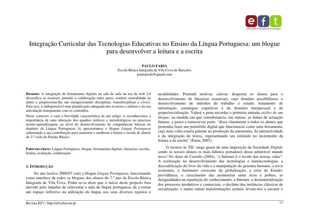 Integração Curricular das Tecnologias Educativas no Ensino da Língua Portuguesa: um blogue                               p...