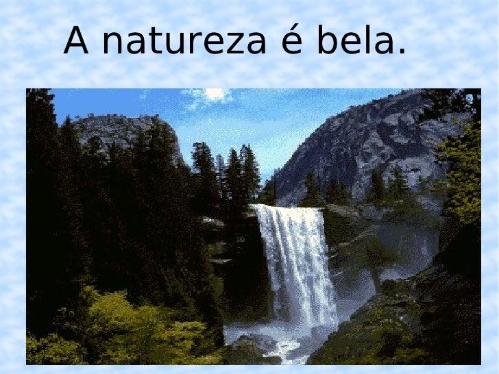A natureza é bela.