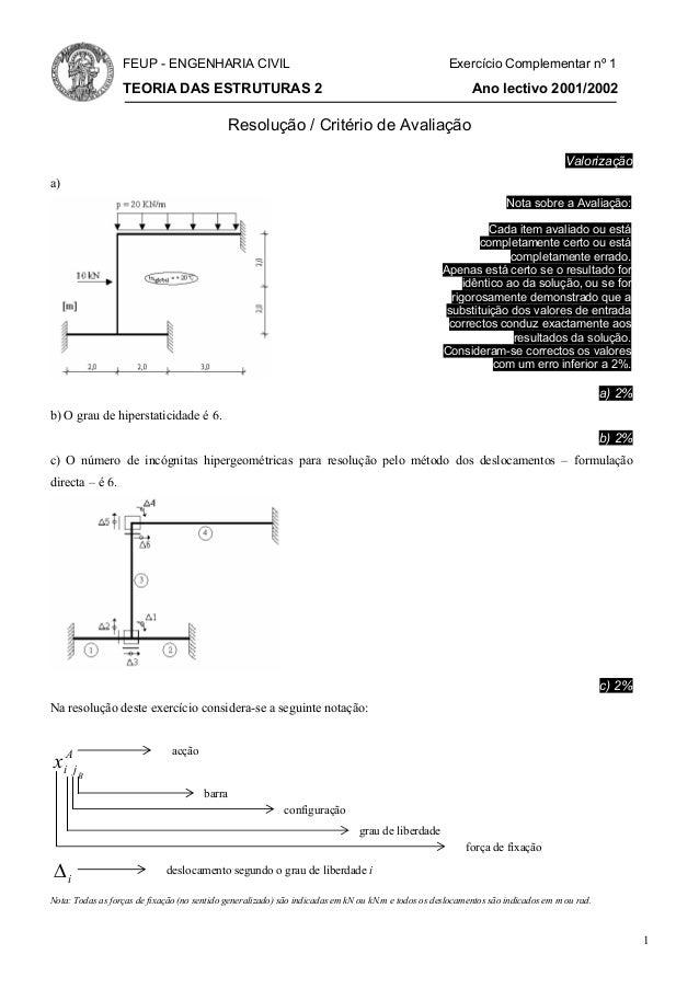 FEUP - ENGENHARIA CIVIL                                                            Exercício Complementar nº 1            ...