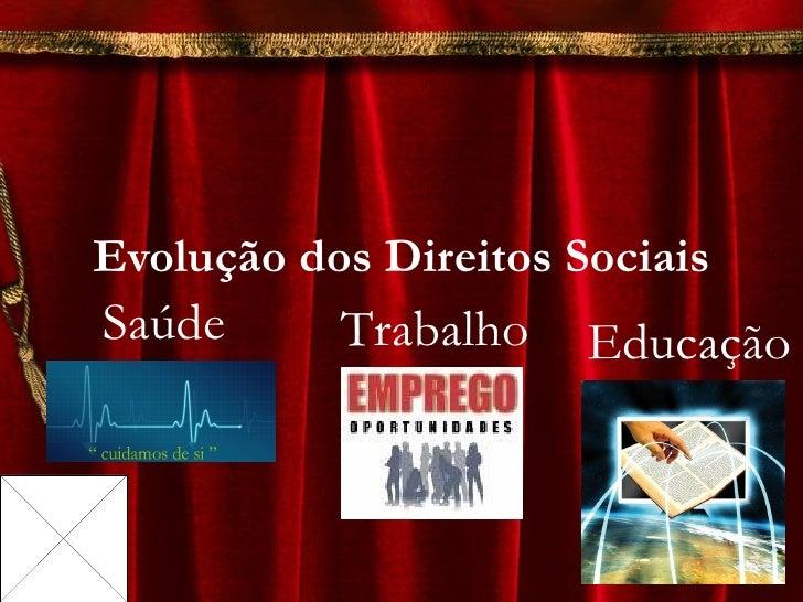 Evolução dos Direitos Sociais Saúde Trabalho  Educação