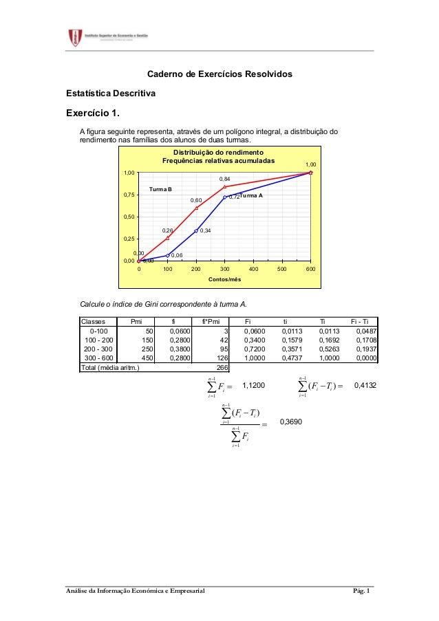 Análise da Informação Económica e Empresarial Pág. 1 Caderno de Exercícios Resolvidos Estatística Descritiva Exercício 1. ...