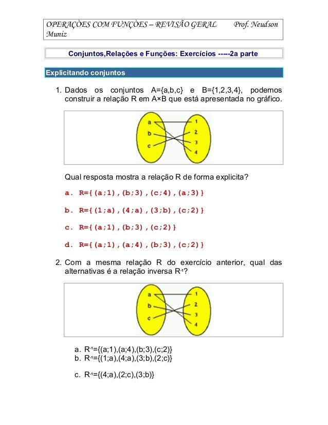 OPERAÇÒES COM FUNÇÒES – REVISÃO GERAL Prof. Neudson Muniz Conjuntos,Relações e Funções: Exercícios -----2a parte Explicita...