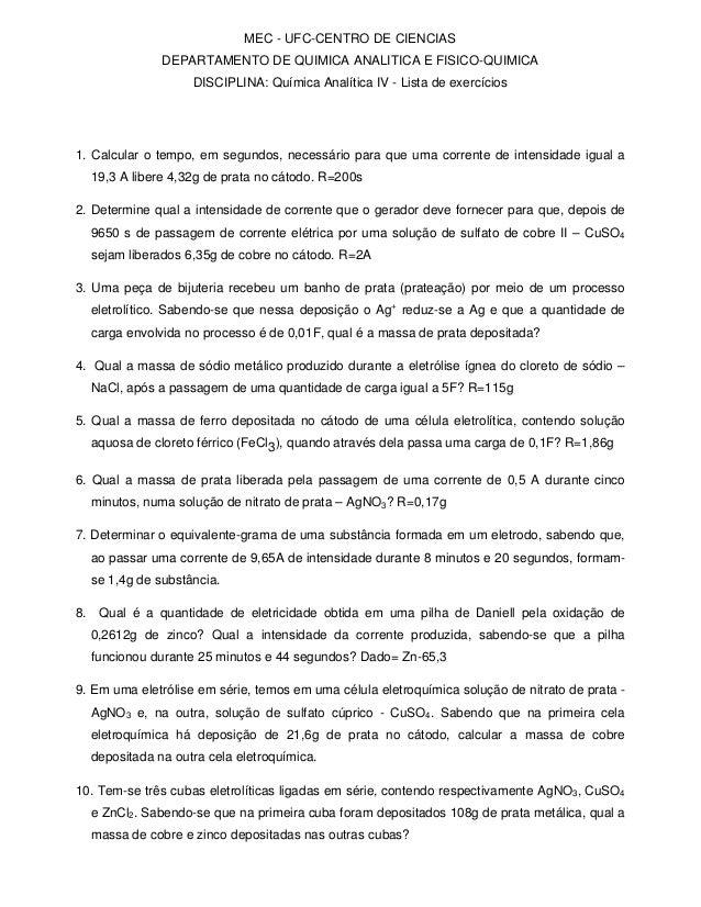 MEC - UFC-CENTRO DE CIENCIAS DEPARTAMENTO DE QUIMICA ANALITICA E FISICO-QUIMICA DISCIPLINA: Química Analítica IV - Lista d...