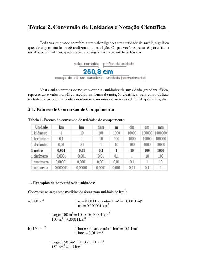 Tópico 2. Conversão de Unidades e Notação Científica Toda vez que você se refere a um valor ligado a uma unidade de medir,...