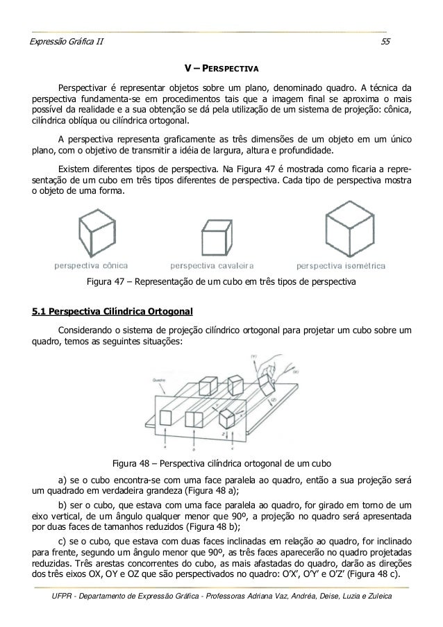 Expressão Gráfica II 55 UFPR - Departamento de Expressão Gráfica - Professoras Adriana Vaz, Andréa, Deise, Luzia e Zuleica...