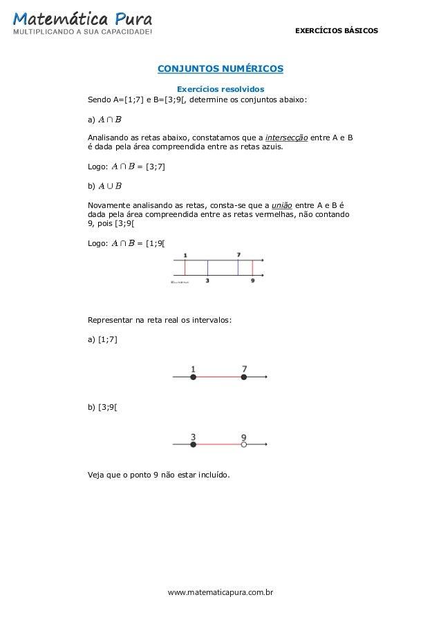 EXERCÍCIOS BÁSICOS www.matematicapura.com.br CONJUNTOS NUMÉRICOS Exercícios resolvidos Sendo A=[1;7] e B=[3;9[, determine ...