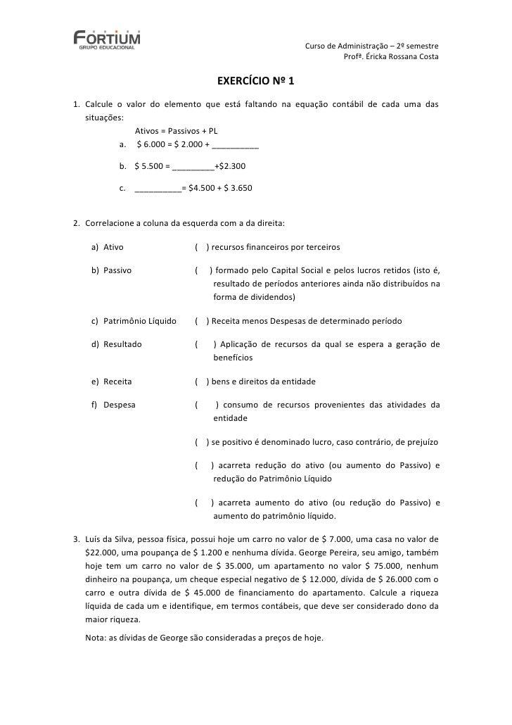 Curso de Administração – 2º semestre                                                                       Profª. Éricka R...