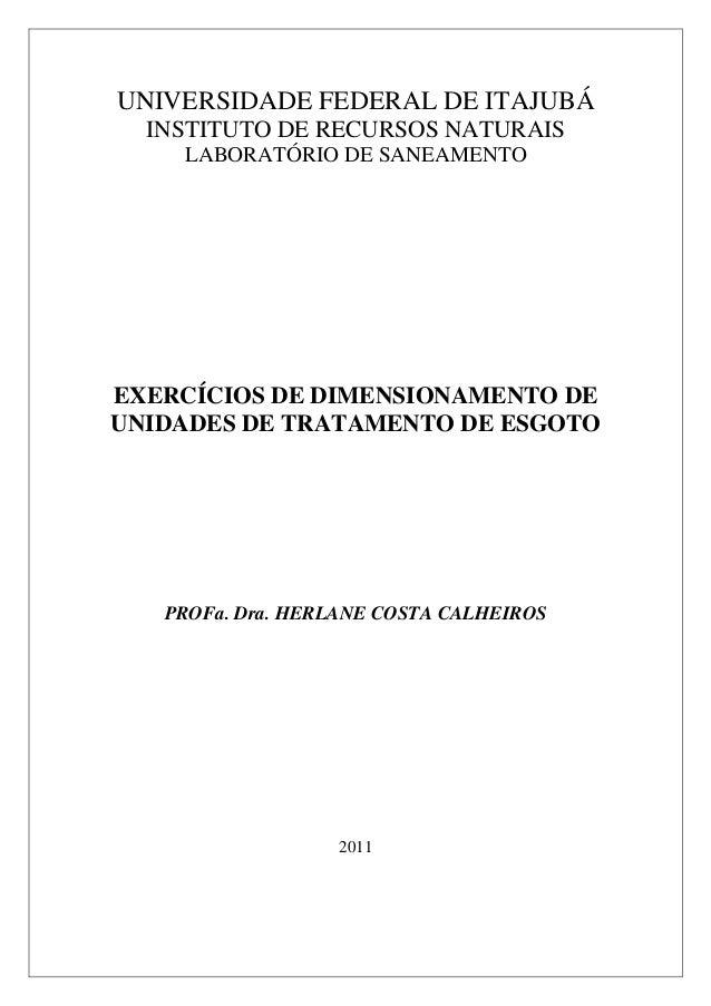 UNIVERSIDADE FEDERAL DE ITAJUBÁ INSTITUTO DE RECURSOS NATURAIS LABORATÓRIO DE SANEAMENTO EXERCÍCIOS DE DIMENSIONAMENTO DE ...