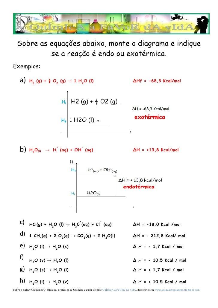 Exercicios diagrama de entalpia sobre as equaes abaixo monte o diagrama e indique se a reao endo ou ccuart Gallery