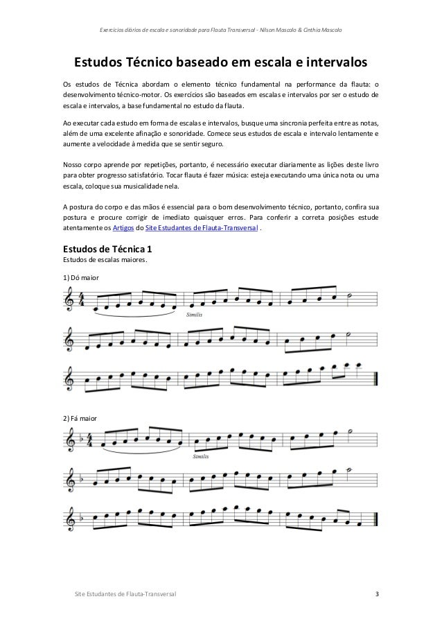 Exercícios diários de escala e sonoridade para flauta transversal   nilson mascolo & cinthia mascolo-1 Slide 3