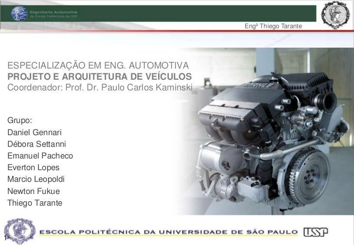 Engº Thiego TaranteESPECIALIZAÇÃO EM ENG. AUTOMOTIVAPROJETO E ARQUITETURA DE VEÍCULOSCoordenador: Prof. Dr. Paulo Carlos K...