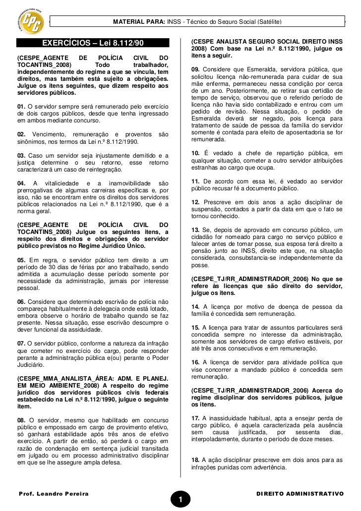 MATERIAL PARA: INSS - Técnico do Seguro Social (Satélite)         EXERCÍCIOS – Lei 8.112/90                            (CE...