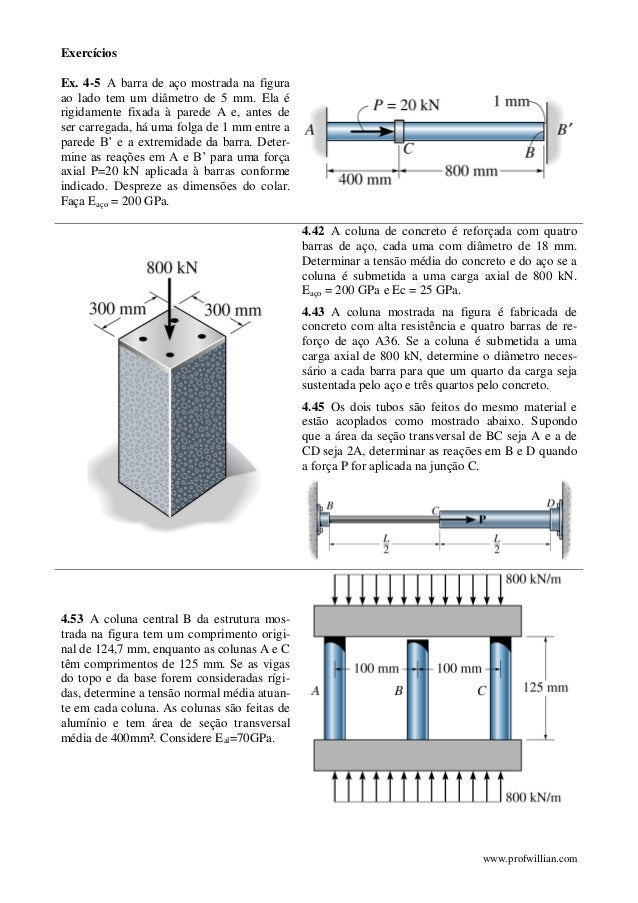 www.profwillian.com Exercícios Ex. 4-5 A barra de aço mostrada na figura ao lado tem um diâmetro de 5 mm. Ela é rigidament...
