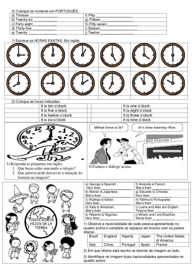 2) Coloque os números em PORTUGUÊS.   a) Thirteen ______________                     f) Fifty __________________   b) Twen...