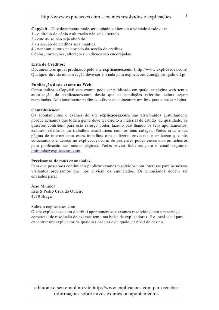http://www.explicacoes.com - exames resolvidos e explicações                      1  Copyleft - Este documento pode ser co...
