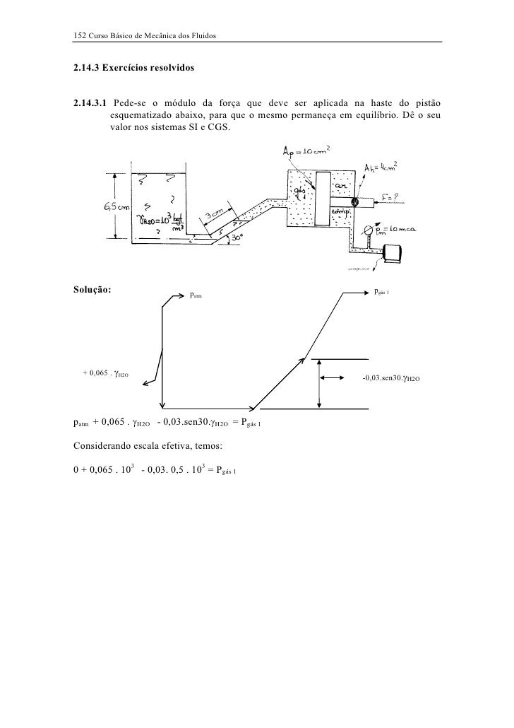 152 Curso Básico de Mecânica dos Fluidos2.14.3 Exercícios resolvidos2.14.3.1 Pede-se o módulo da força que deve ser aplica...