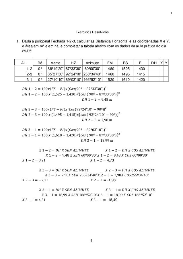 1 1 Exercícios Resolvidos 1. Dada a poligonal Fechada 1-2-3, calcular as Distância Horizontal e as coordenadas X e Y, e ár...