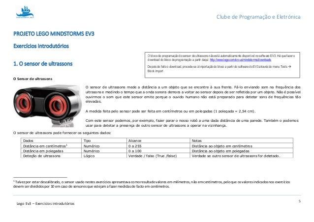 Clube de Programação e Eletrónica 5 Lego Ev3 – Exercícios introdutórios PROJETO LEGO MINDSTORMS EV3 Exercícios introdutóri...