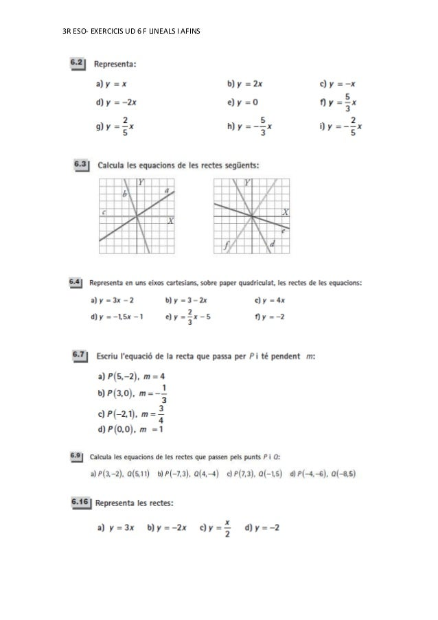 3R ESO- EXERCICIS UD 6 F LINEALS I AFINS