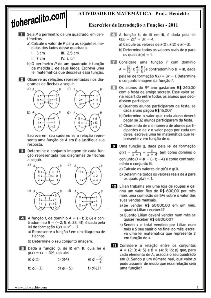 ATIVIDADE DE MATEMÁTICA Prof.: Heráclito                          Exercícios de Introdução a Funções - 2011www.tioheraclit...