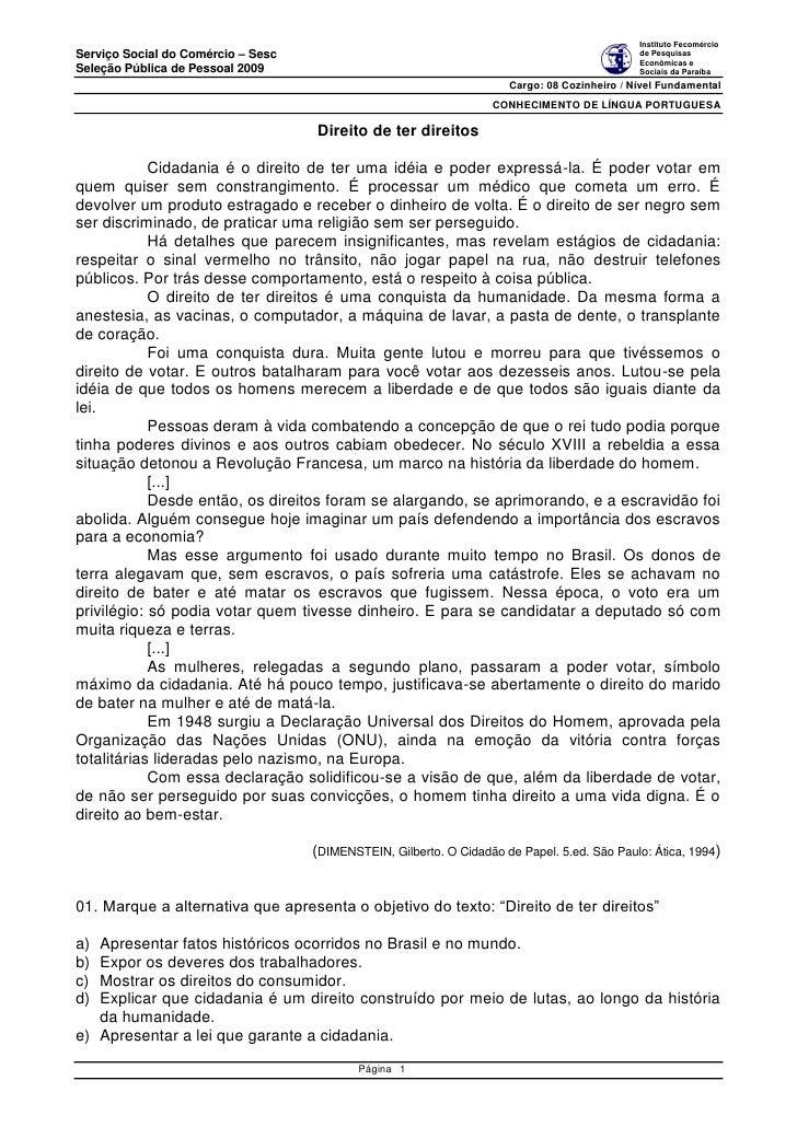 Instituto Fecomércio Serviço Social do Comércio – Sesc                                                              de Pes...