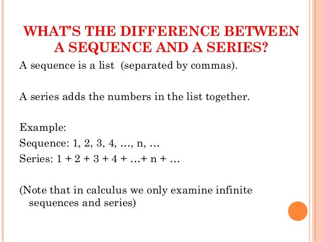 1 2 explain the difference between sequence Intro to arithmetic sequences intro to arithmetic sequences this is the currently selected item extending arithmetic sequences practice: extend arithmetic sequences using arithmetic sequences formulas intro to arithmetic sequence formulas  the sequence 1, 2, 4, 8.