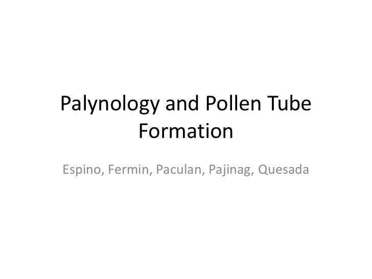 Palynology and Pollen Tube        FormationEspino, Fermin, Paculan, Pajinag, Quesada