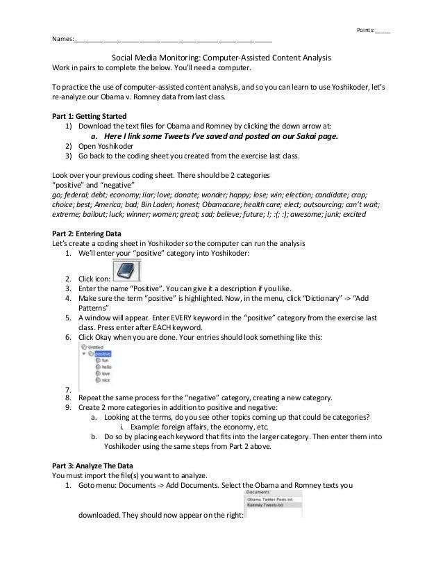 Points:_____ Names:_______________________________________________________ Social Media Monitoring: Computer-Assisted Cont...