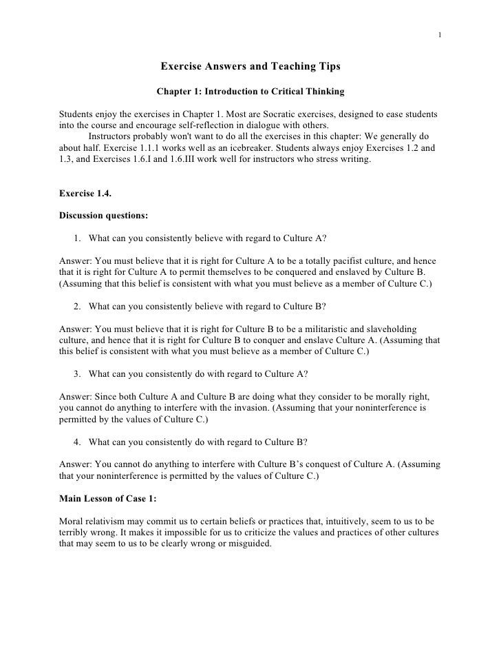 critical thinking chapter exercises